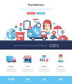 Delivery services website header banner with webdesign elements
