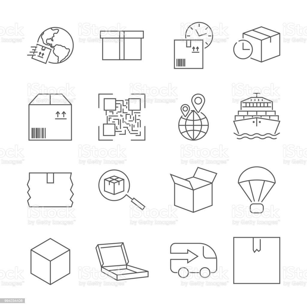 Delivery Set Of Outline Vector Icons Includes Such As Loading
