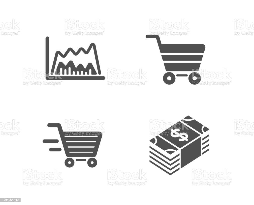 配信ショッピングや取引チャート、市場販売アイコン。米ドル通貨記号。 - イラストレーションのロイヤリティフリーベクトルアート