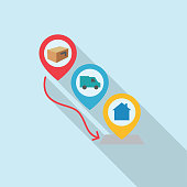 Logistics icon in thin line style with flat color. Easy to edit. — Delivery Steps
