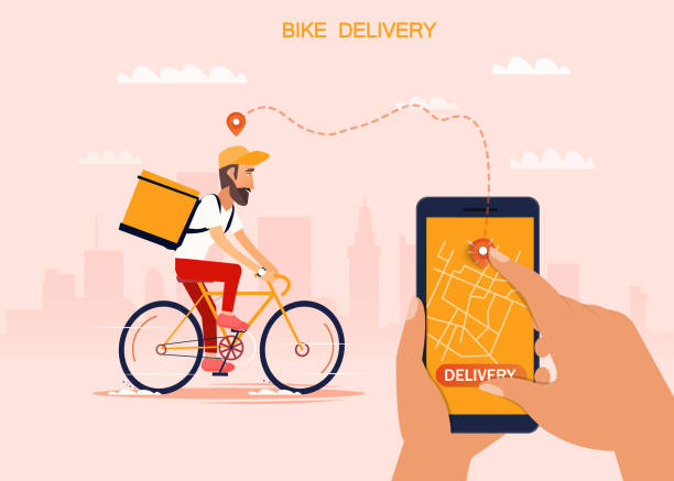 delivery, the guy on the bike carries the parcel. urban landscape. courier driving bike fast food food. flat design vector illustration. - food delivery stock illustrations