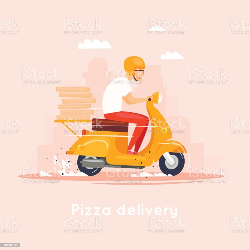 Delivery, the guy on the moped is carrying pizza. Characters. Flat design vector illustration. vector art illustration
