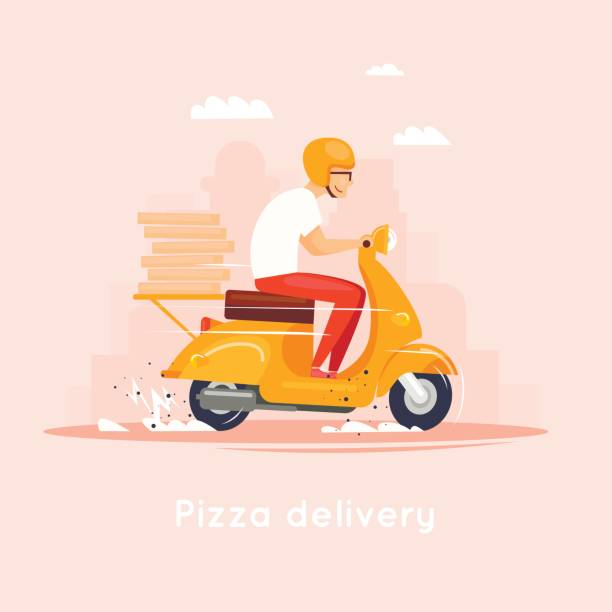 lieferung, trägt der mann auf dem moped pizza. zeichen. flaches design-vektor-illustration. - moped stock-grafiken, -clipart, -cartoons und -symbole