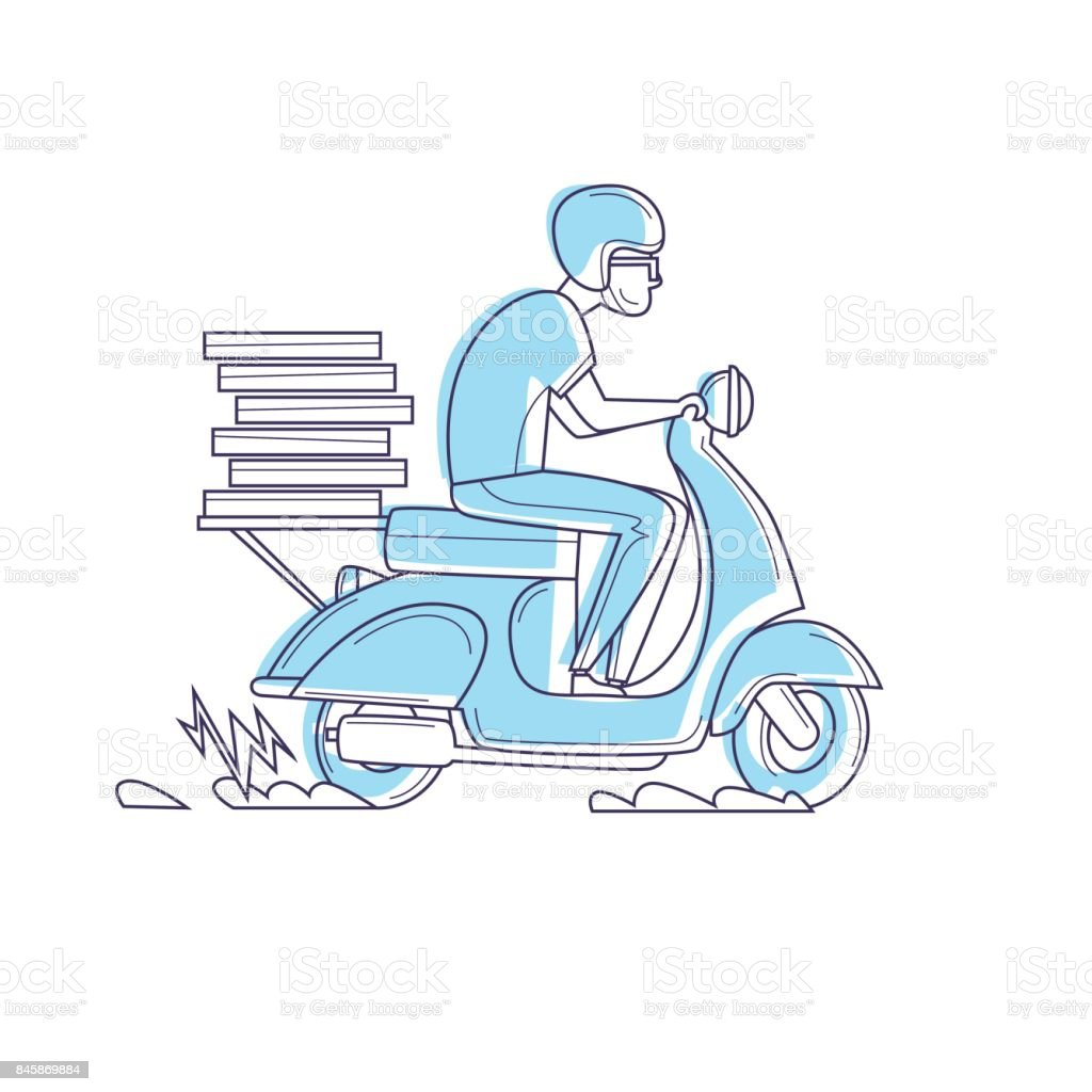 Delivery, the guy on the moped is carrying pizza thin line. Characters. Flat design vector illustration. vector art illustration