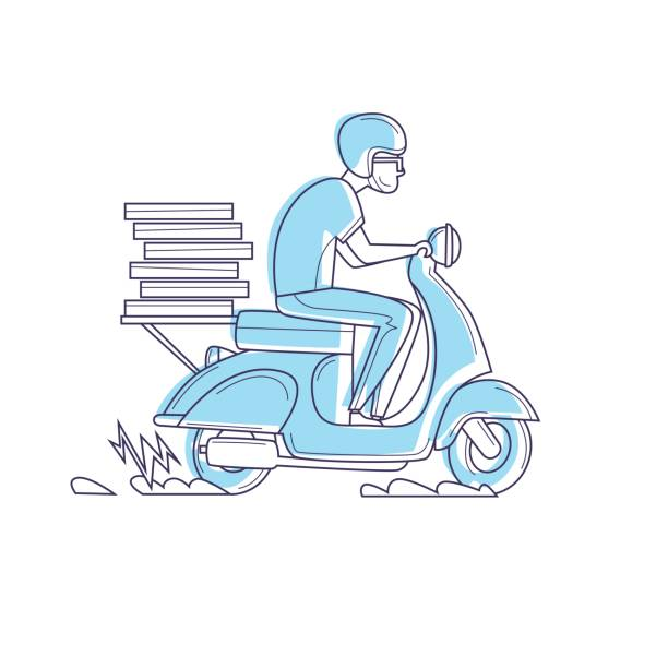 lieferung, trägt der mann auf dem moped pizza dünne linie. zeichen. flaches design-vektor-illustration. - moped stock-grafiken, -clipart, -cartoons und -symbole