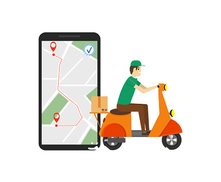 Delivery, the guy on the moped. Service, Order, Worldwide Shipping, Fast and Free Transport. Online delivery service concept, online order tracking, delivery home and office. Vector illustration