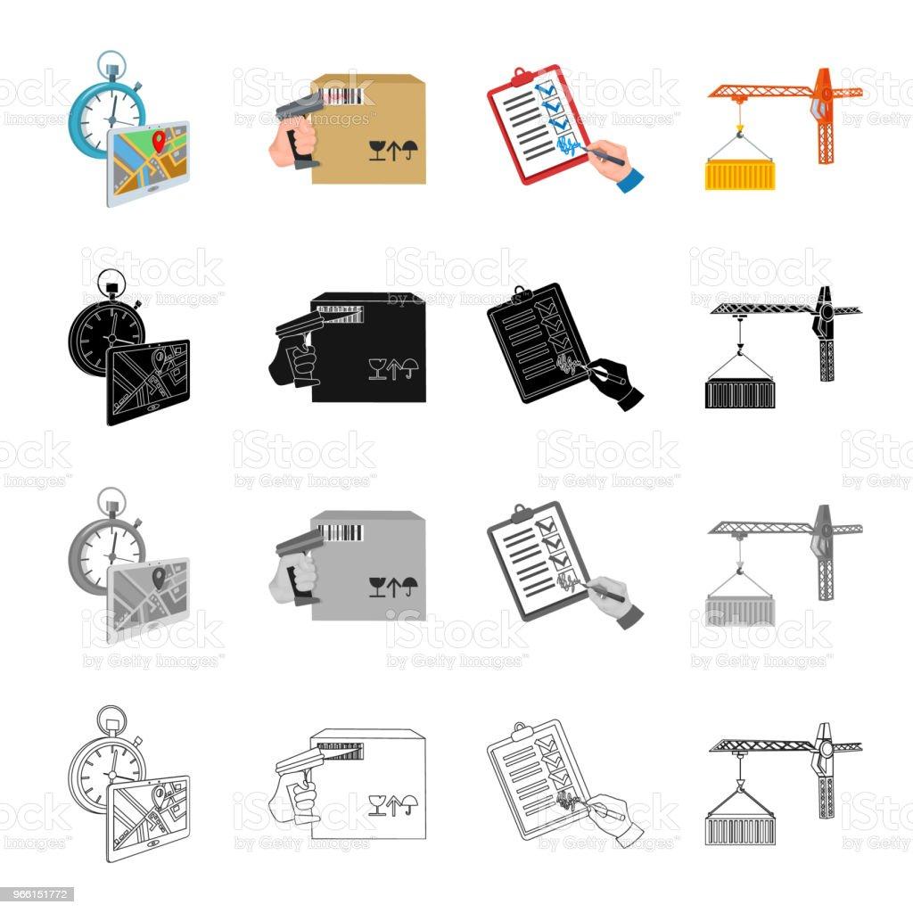 Leveranstid, en låda med en streckkod, ett leveransdokument, en behållare som lastning av en kran. Logistik som samling ikoner i tecknad svart monokrom kontur stil vektor symbol stock illustration isometrisk web. - Royaltyfri Behållare vektorgrafik