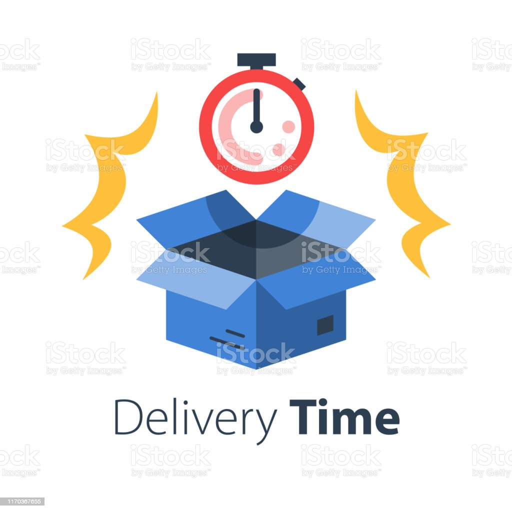 Delivery time, fast shipment, stopwatch and open box, postal parcel...