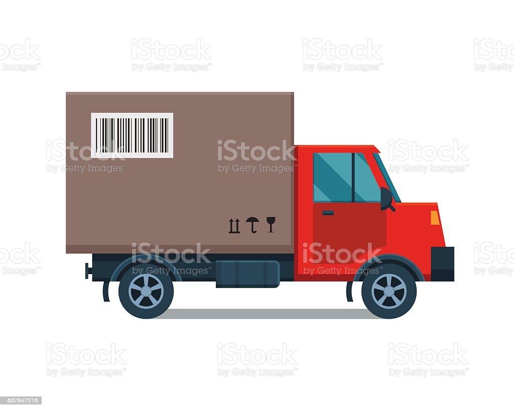 Delivery transport cargo truck vector illustration. vector art illustration