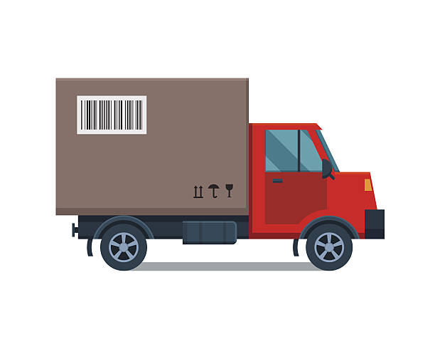 delivery transport cargo truck vector illustration. - delivery van stock illustrations, clip art, cartoons, & icons