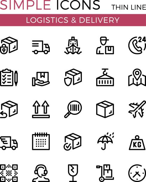 Delivery, transportation, logistics, shipping vector thin line icons set. 32x32 px. Modern line graphic design concepts for websites, web design, etc. Pixel perfect vector outline icons set vector art illustration