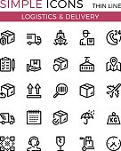 Delivery, transportation, logistics, shipping vector thin line icons set. 32x32 px. Modern line graphic design concepts for websites, web design, etc. Pixel perfect vector outline icons set