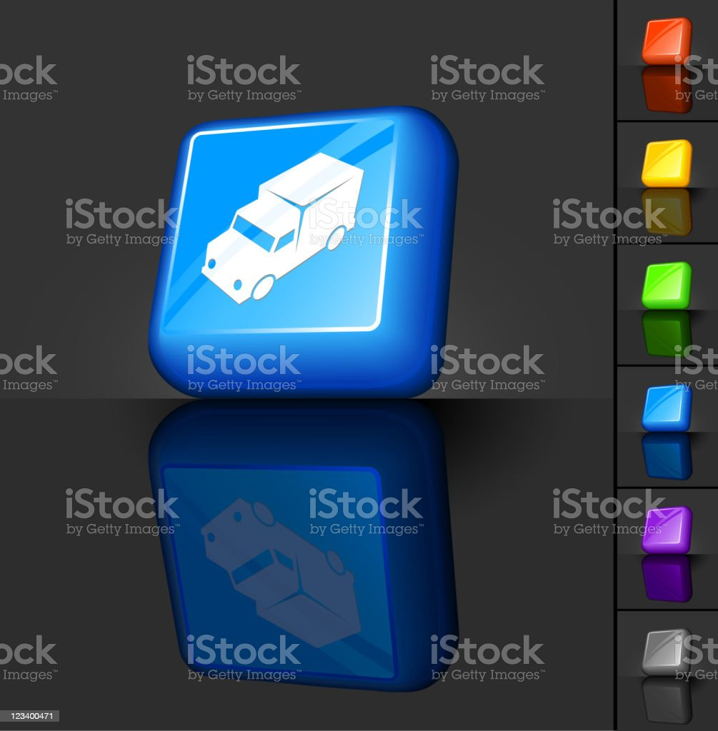 delivery truck 3D button design royalty-free stock vector art