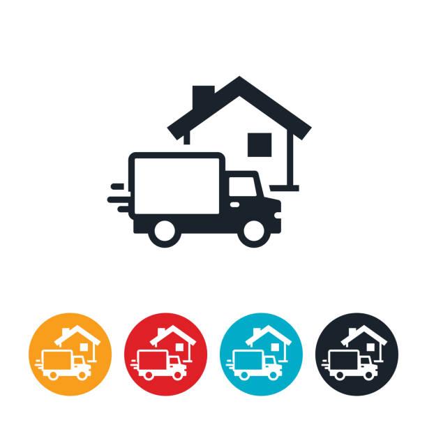 Lieferwagen bei House Icon – Vektorgrafik