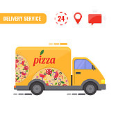 Delivery truck. Concept of the pizza delivery service