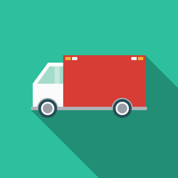 delivery truck flat design transportation icon - delivery van stock illustrations, clip art, cartoons, & icons