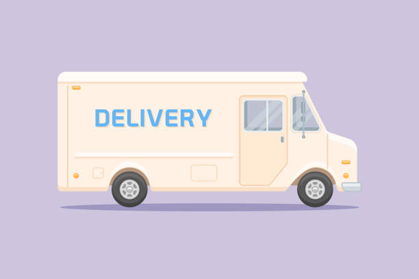 Delivery truck flat style vector illustration vector art illustration