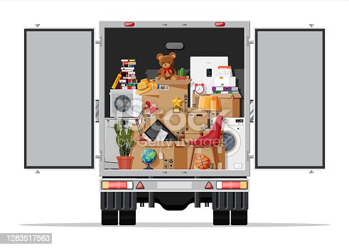 istock Delivery truck full of home stuff inside. 1283517563
