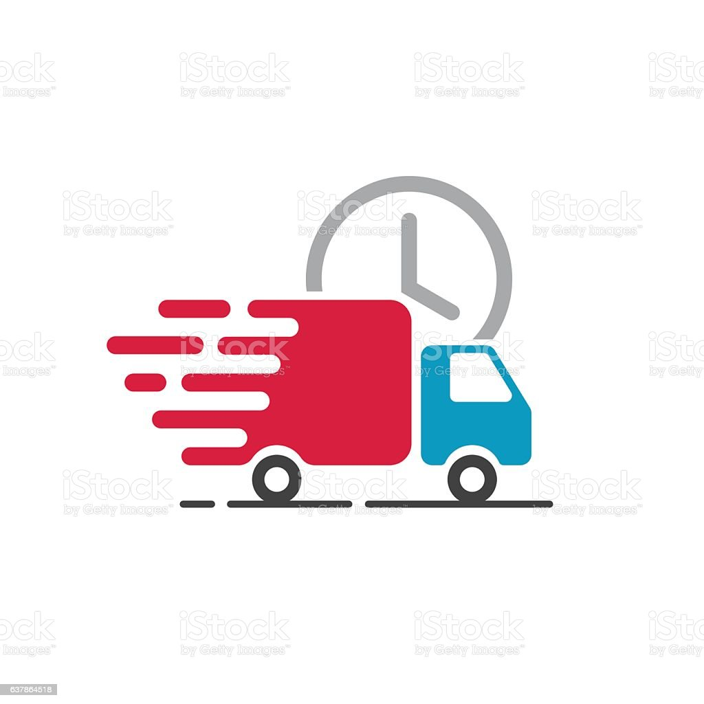 Delivery Truck Icon Vector Cargo Van Moving Fast Shipping ...