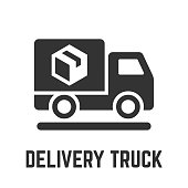 Delivery truck icon with cargo freight lorry vehicle and package box glyph symbol.