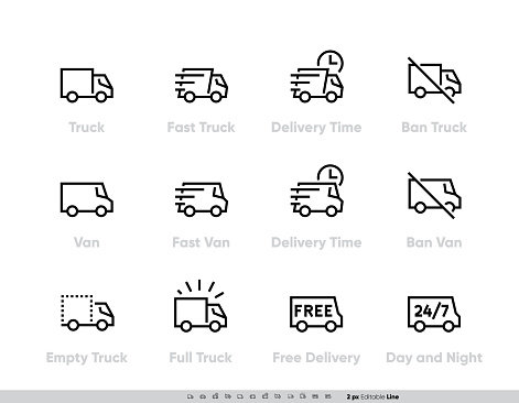 Delivery Truck icons set. Fast Truck, Minibus, Van, Delivery in Time, Ban, 24-7 Free Delivery. Vector Editable Line