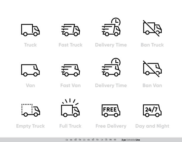 Delivery Truck icons set. Fast Truck, Minibus, Van, Delivery in Time, Ban, 24-7 Free Delivery. Vector Editable Line vector art illustration