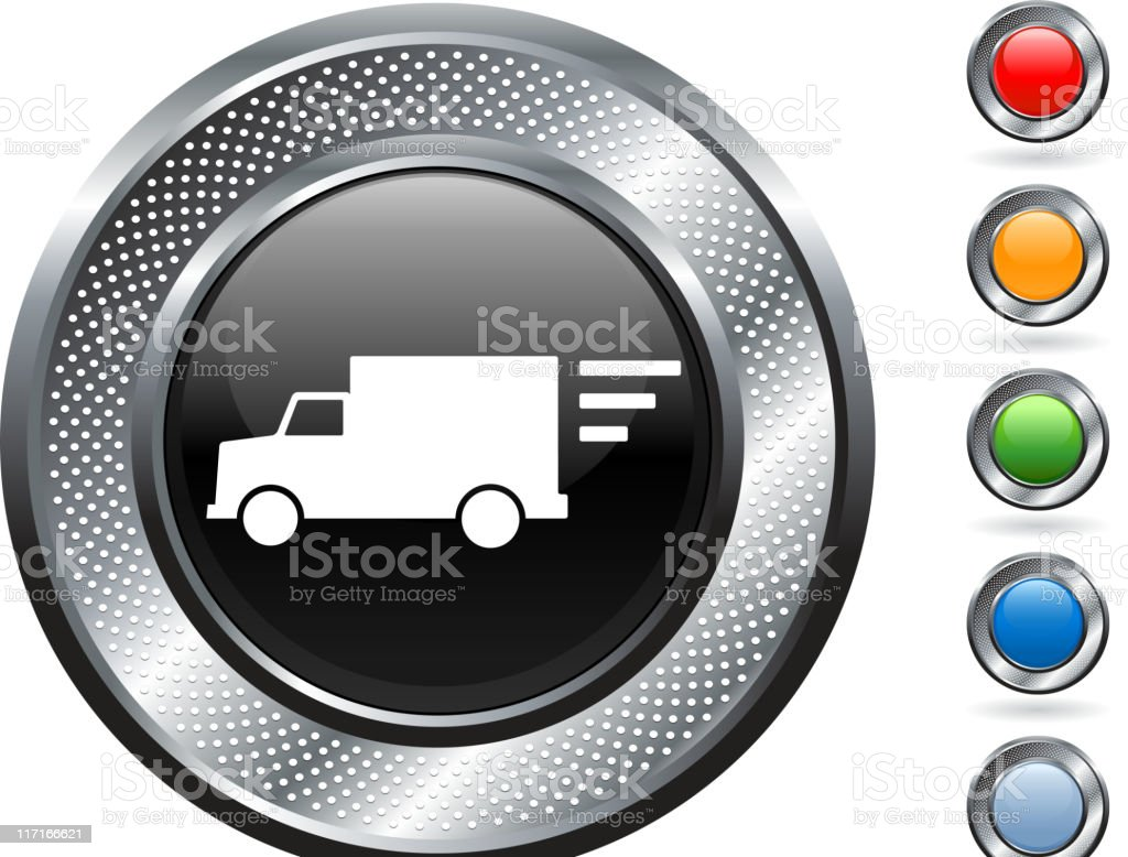 delivery truck royalty free vector art on metallic button royalty-free stock vector art