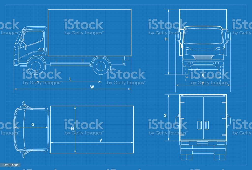Delivery Truck Schematic Or Van Car Blueprint Vector Illustration ...