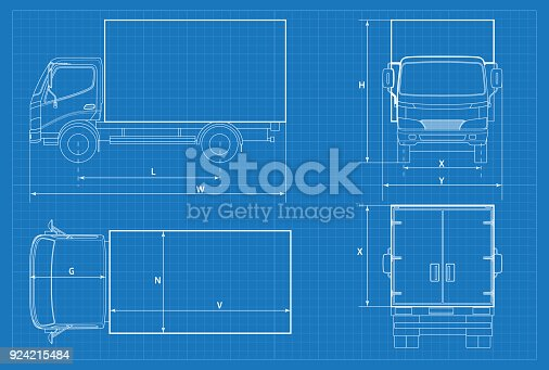 Delivery truck schematic or van car blueprint vector illustration delivery truck schematic or van car blueprint vector illustration truck car in outline business vehicle template vector view front rear side top stock malvernweather Images