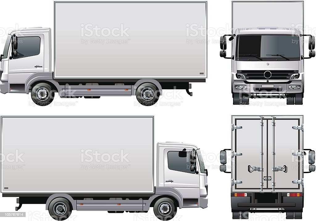 Delivery truck shown from four angles royalty-free stock vector art