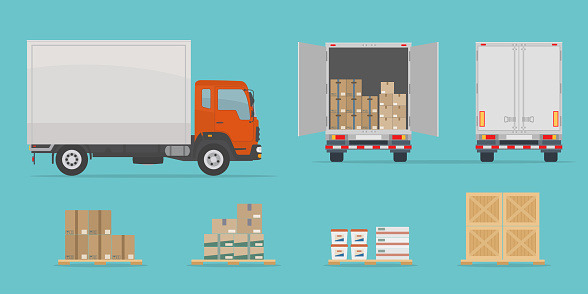 Delivery truck side and back view, and different boxes. Isolated on blue background.