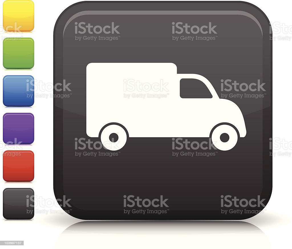 delivery truck square icon on internet button royalty-free delivery truck square icon on internet button stock vector art & more images of black color