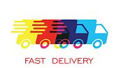 Delivery truck symbol vector illustration. Fast delivery service shipping icon. Simple flat pictogram for business, marketing or mobile app internet concept on white background.