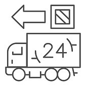 Delivery truck thin line icon, Logistics delivery symbol, Fast twenty four hours transportation vector sign on white background, 24 hour delivery icon outline style web design. Vector graphics