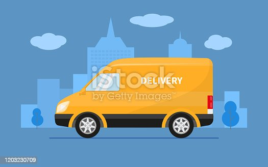 istock Delivery truck van rides on the background of city 1203230709