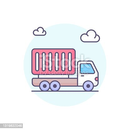 istock delivery truck vector round icon style illustration. EPS 10 File 1319832046