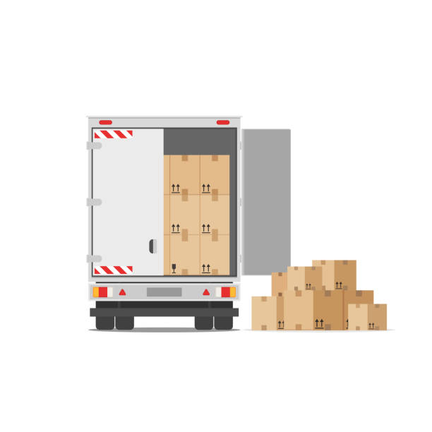 Delivery truck with a bunch of boxes vector art illustration