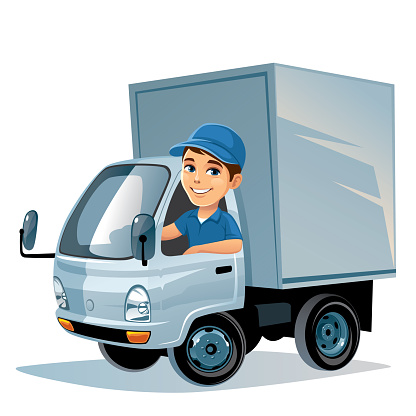 Delivery truck with driver