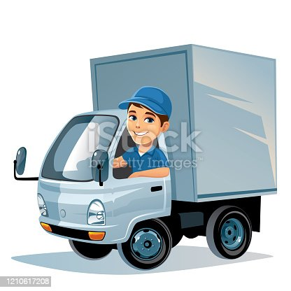 istock Delivery truck with driver 1210617208
