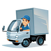 Illustration of a commercial truck with driver on white background.
