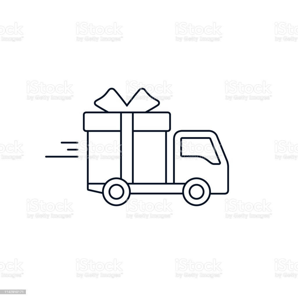 Delivery truck with gift box. Free Delivery concept, stroke flat...