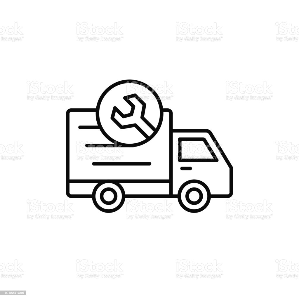 Delivery Truck With Wrench Icon Shipment Car Under Repair In Machine