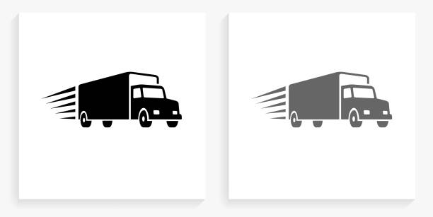 Delivery Trucks Black and White Square Icon vector art illustration