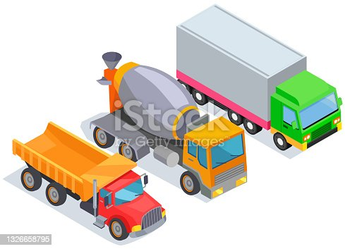 istock Delivery trucks for worldwide selling. Different types of transport for transporting goods 1326658795