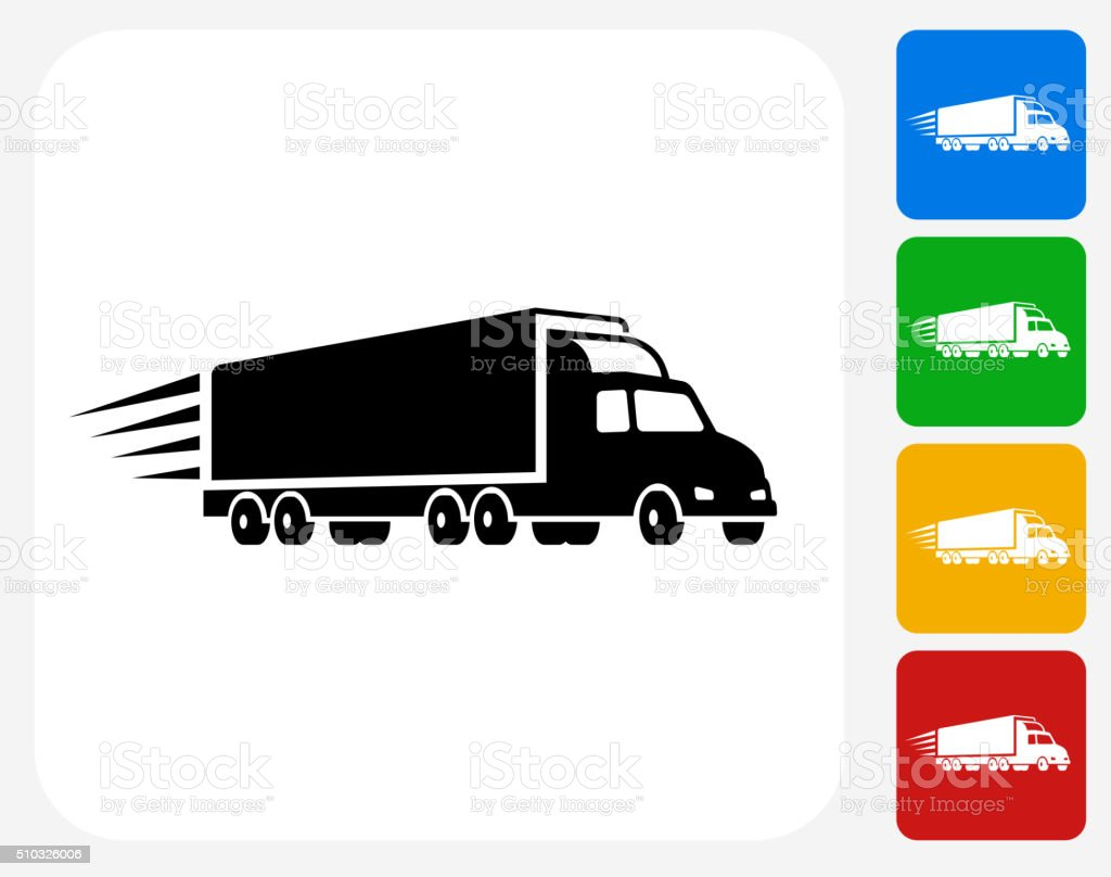 Delivery Trucks Icon Flat Graphic Design vector art illustration