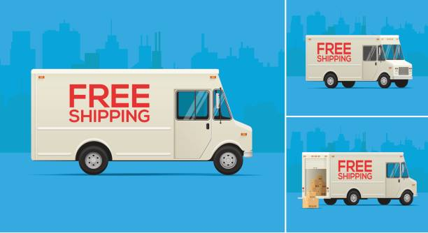 delivery trucks illustration - delivery van stock illustrations, clip art, cartoons, & icons