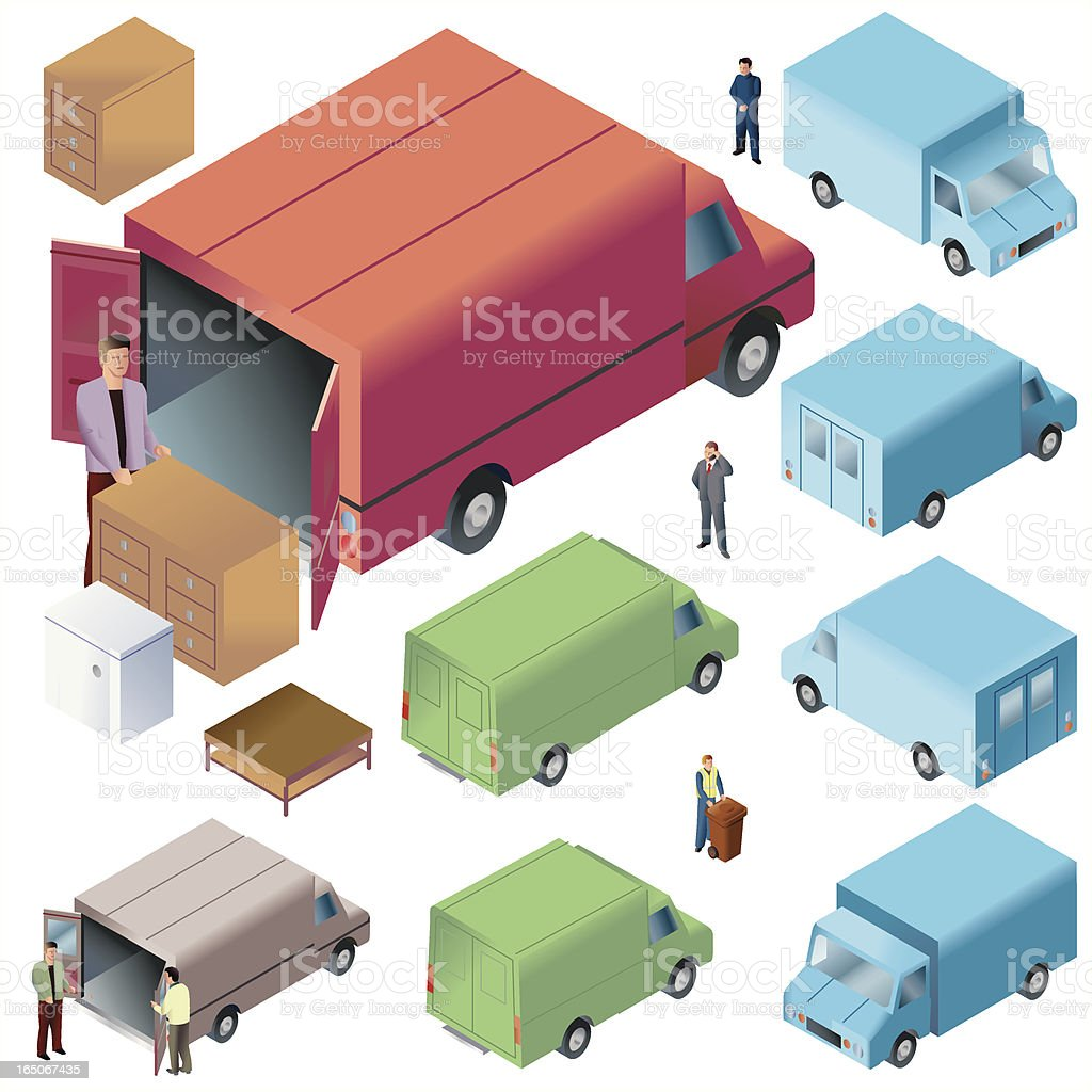 Delivery Trucks ISO royalty-free stock vector art