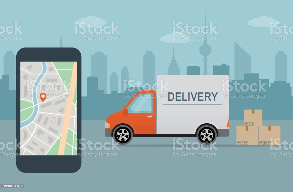 Delivery van and mobile phone with map on city background. vector art illustration