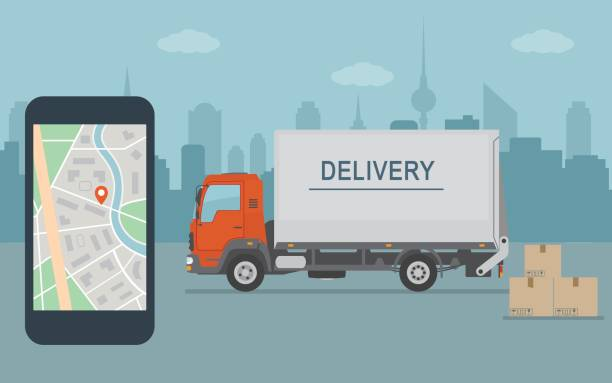 delivery van and mobile phone with map on city background. - delivery van stock illustrations, clip art, cartoons, & icons
