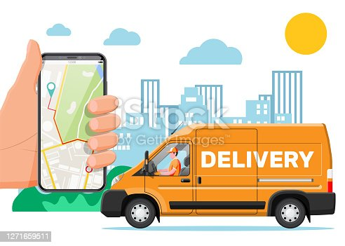 Orange delivery van and smartphone with navigation app. Express delivering services commercial truck. Concept of fast and free delivery by car. Cargo and logistic. Cartoon flat vector illustration